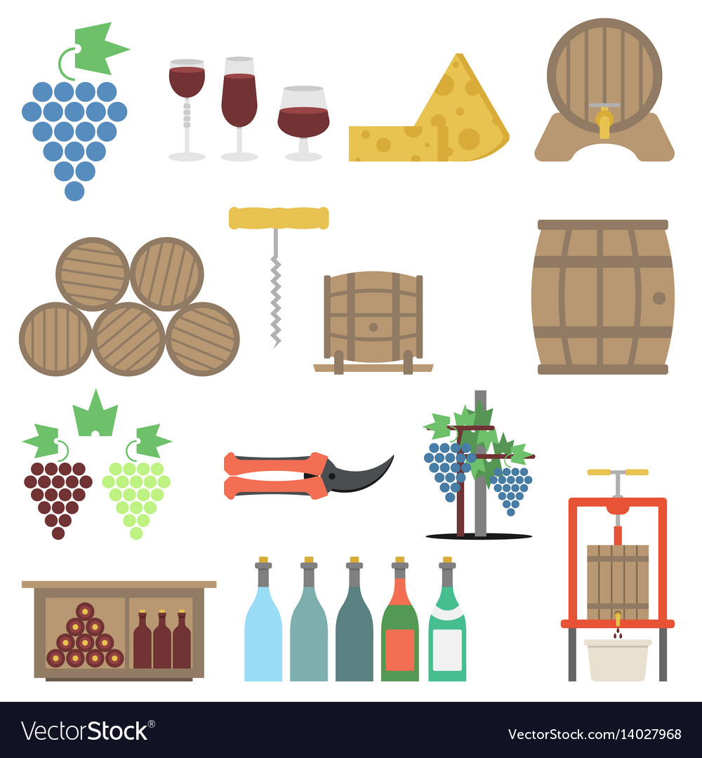 Vine making flat icon set