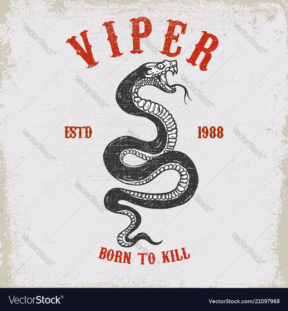 Viper snake on grunge background design element
