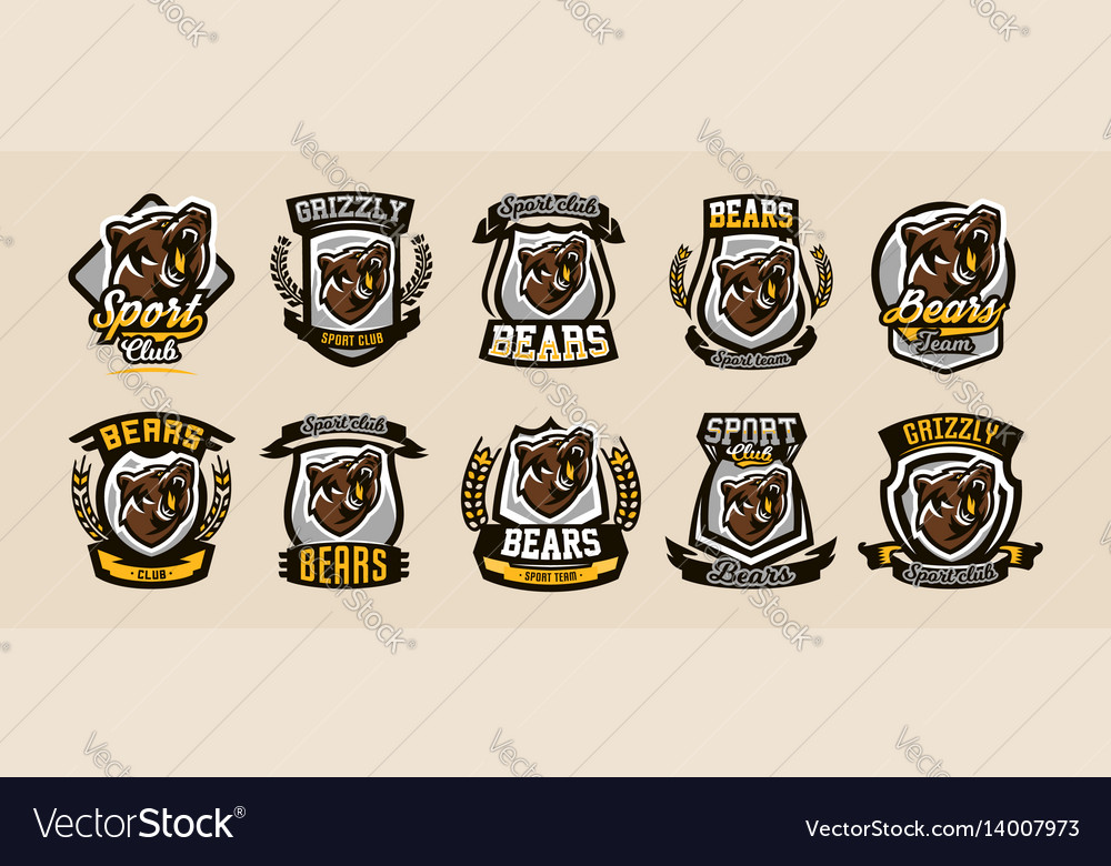 A collection of colorful logos emblems growling