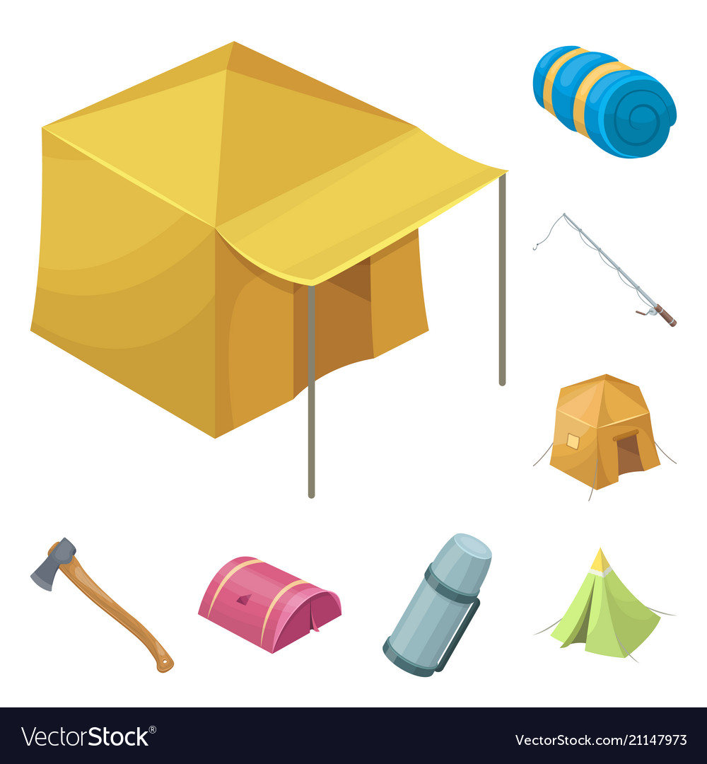 Different kinds of tents cartoon icons in set