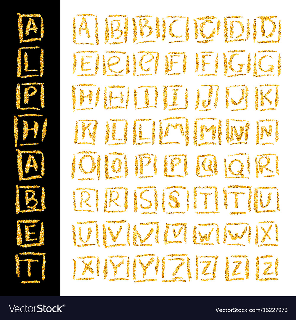 Hand drawn glitter golden alphabet in calligraphy