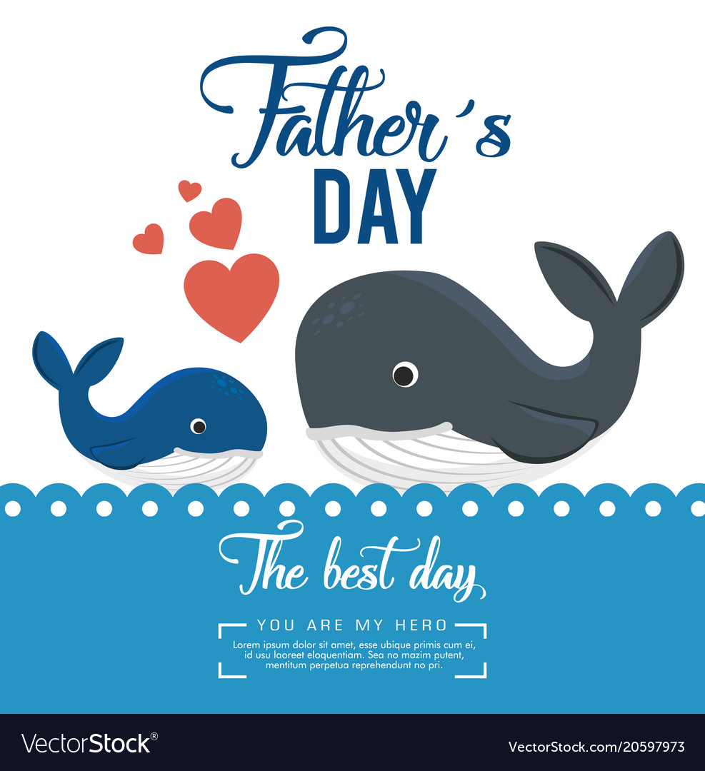 Happy Fathers Day Card With Whale Royalty Free Vector Image