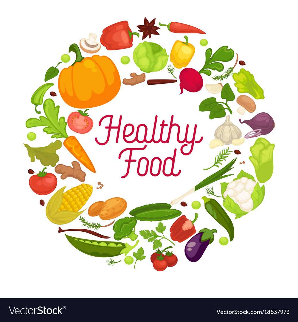Organic Food Products Healthy: Healthy Food Poster Organic Vegetables Royalty Free Vector