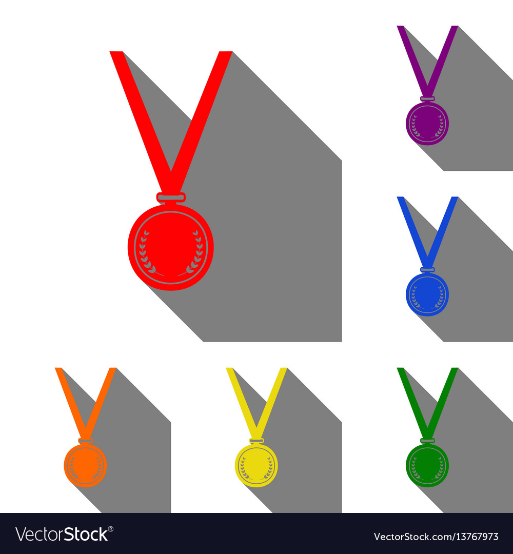 Medal simple sign set of red orange yellow vector image