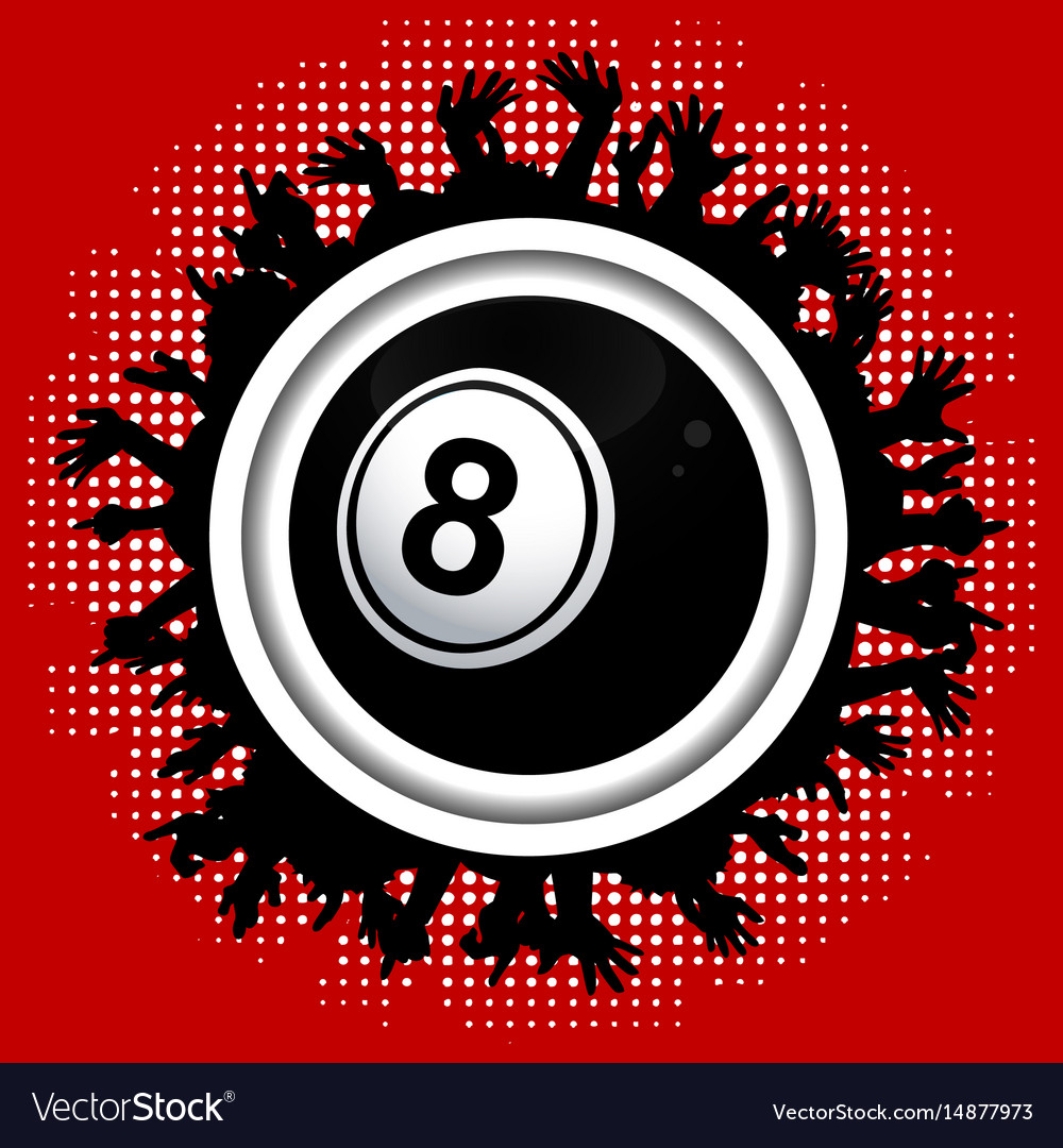 Number eight bingo lottery ball on crowd border