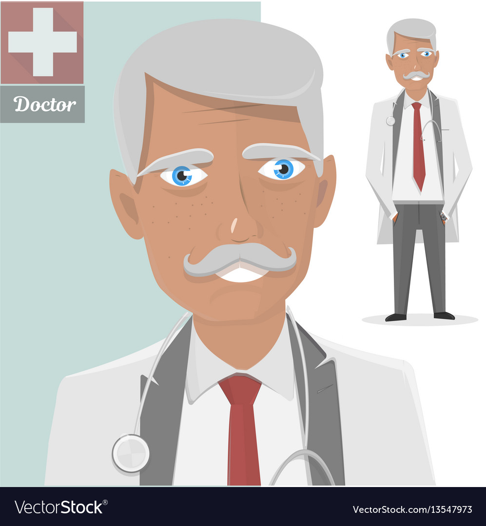 Old doctor with stethoscope the character