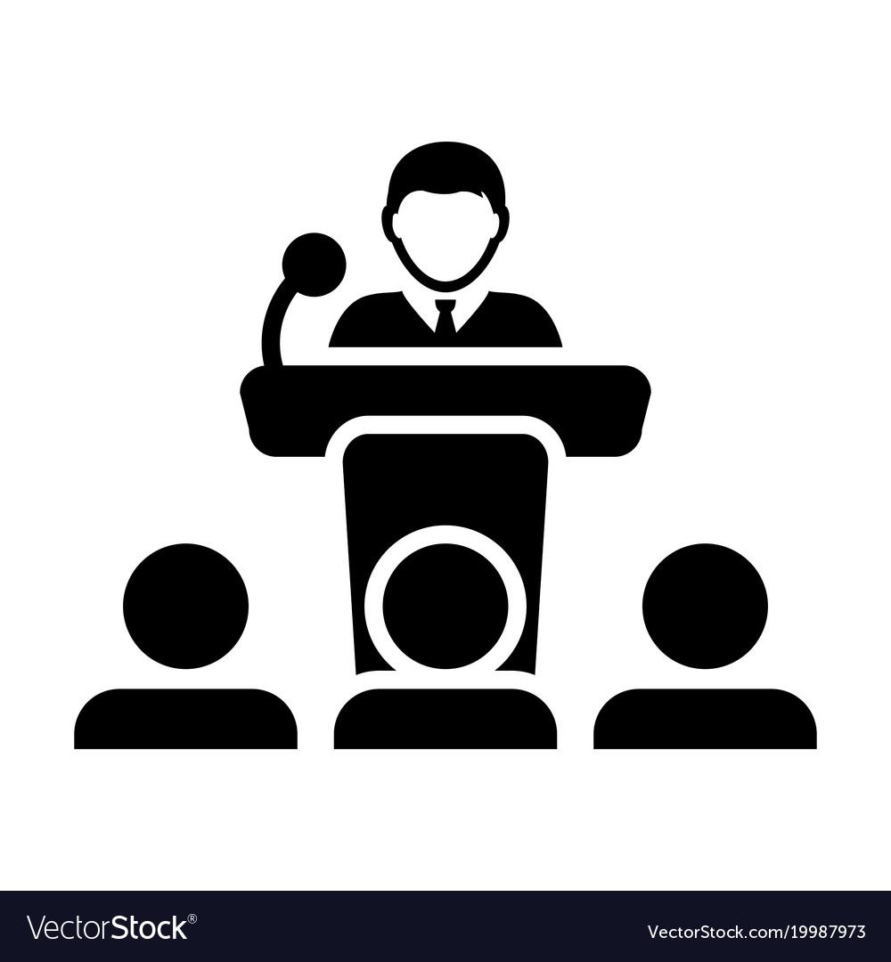 public speaking icon male person on podium vector image rh vectorstock com public speaking audience clipart public speaking audience clipart