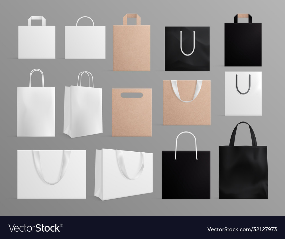 Realistic paper bags black white shopping bag