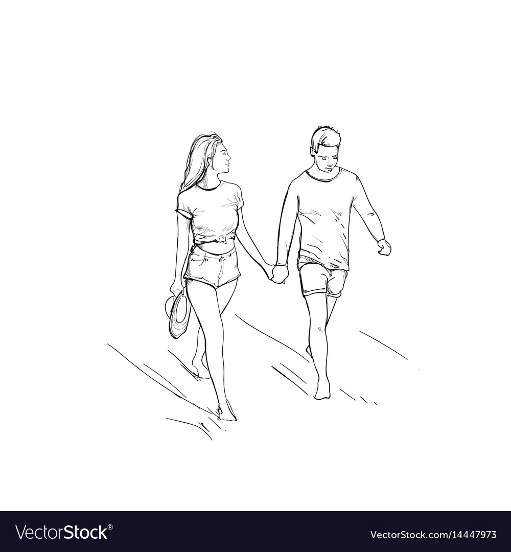 Romantic couple hold hand walking man and woman