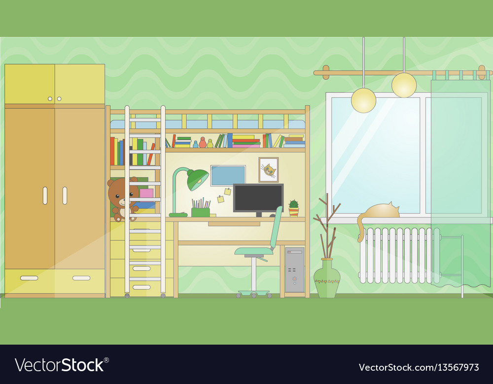 Room with workplace flat stylized cartoon