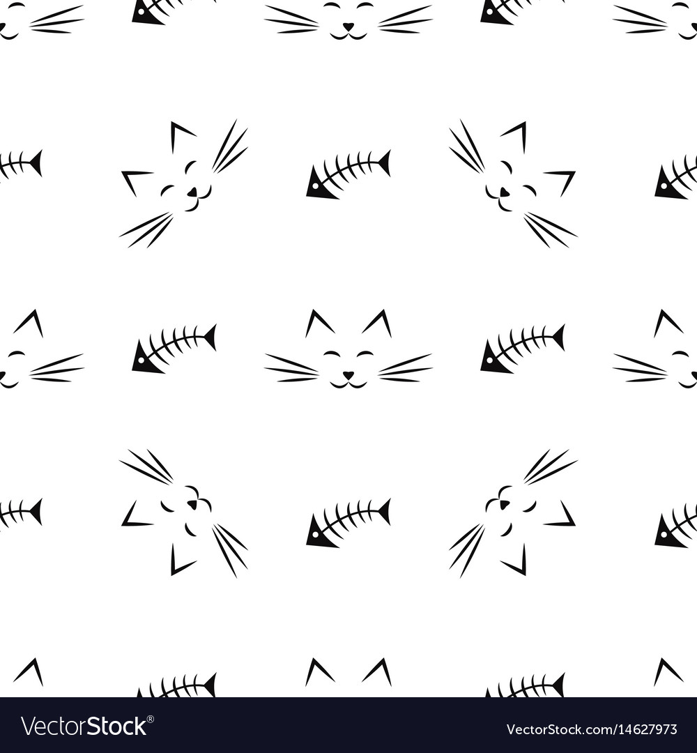 Seamless pattern with cats and fish bones