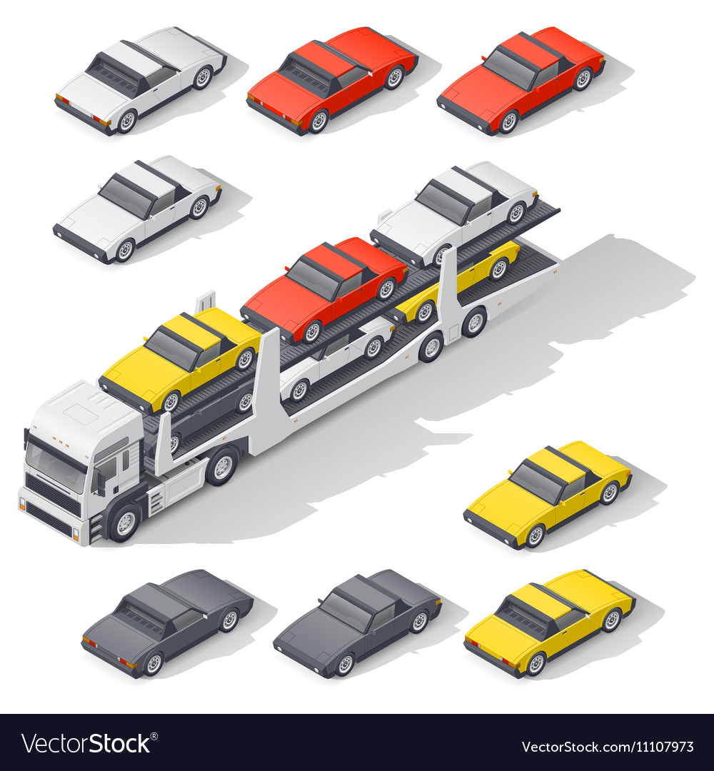 Transportation of vehicles loaded on board the car vector image
