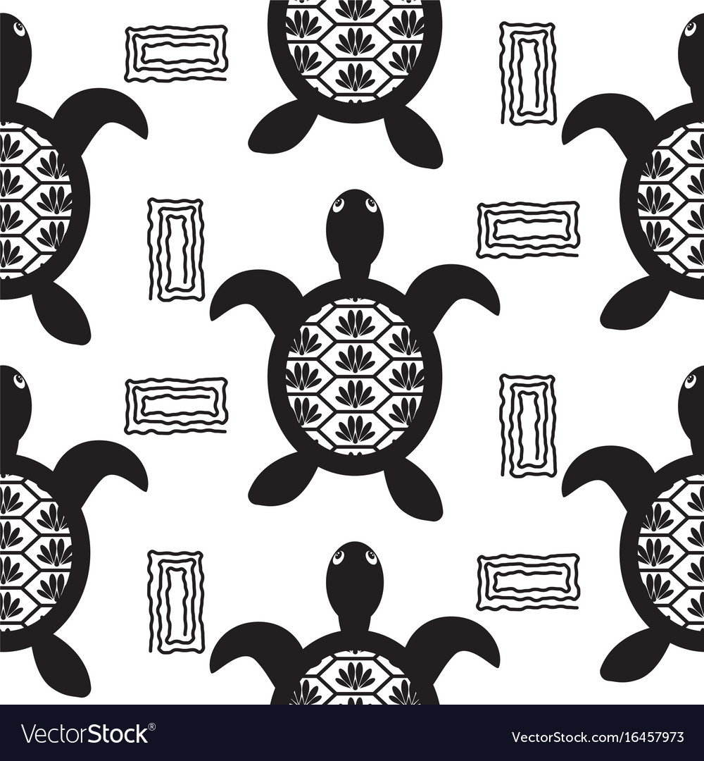 Turtle black stencil seamless pattern