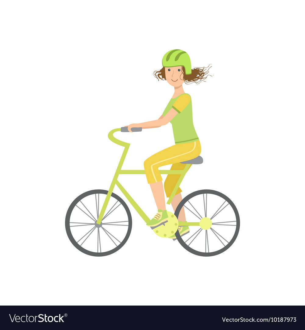 Woman Riding A Bicycle In Helmet vector image