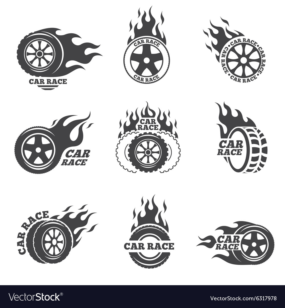 Car race logo set Wheel with fire flame