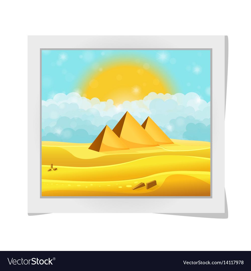 Cartoon photo frame with egyptian pyramids in the