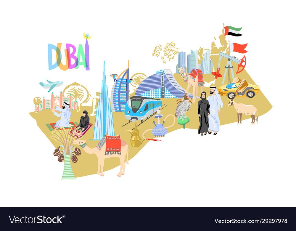 Dubai map with hand drawing icons symbols united