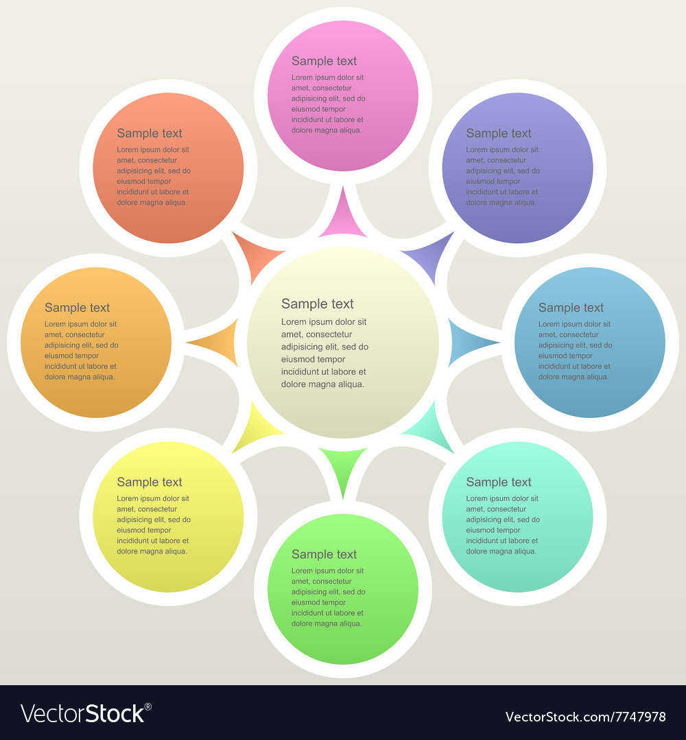 Eight part color business infographics template