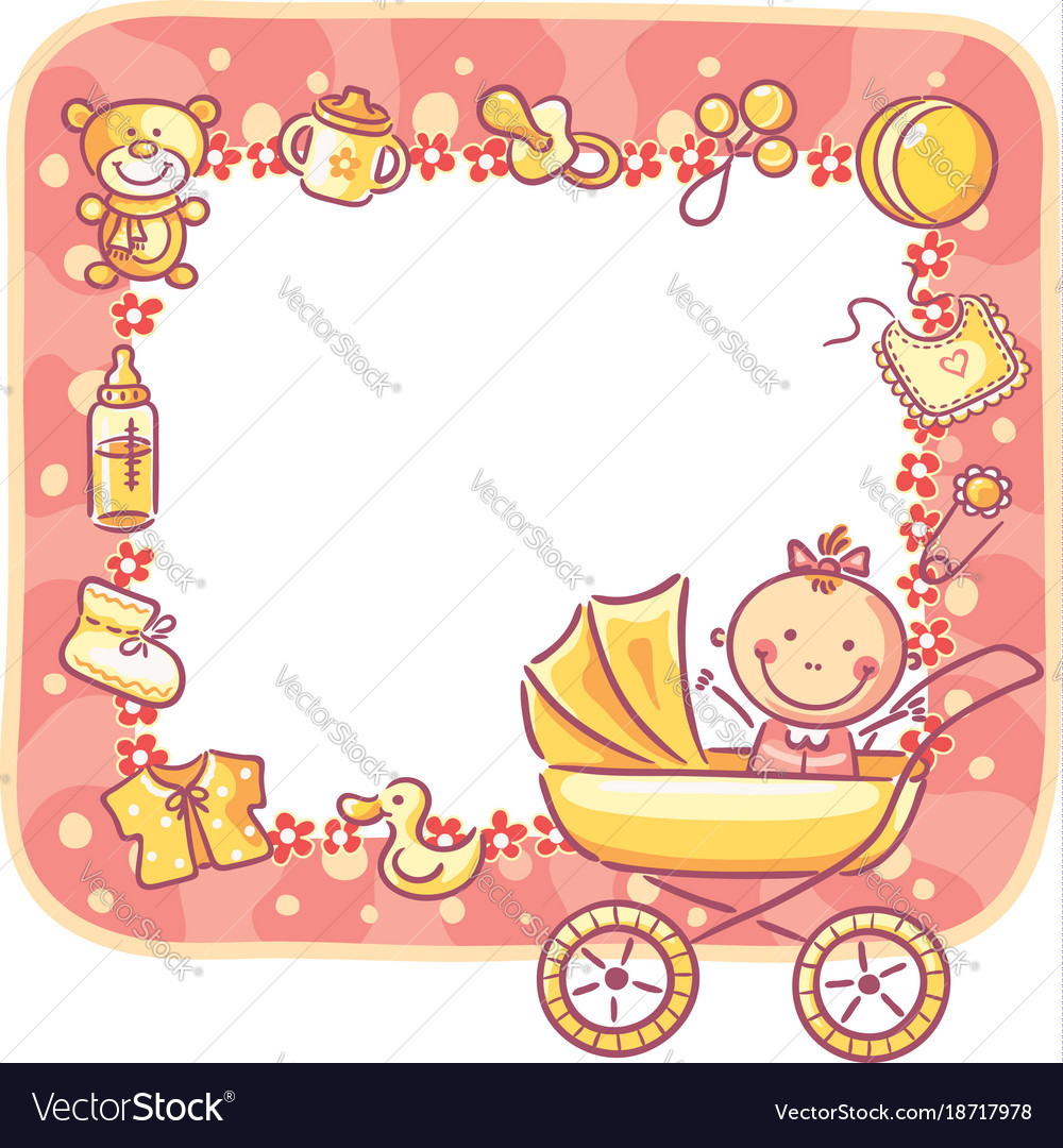Frame with baby-girl things Royalty Free Vector Image