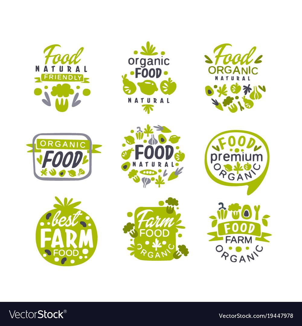 Hand drawn gray and green organic healthy food