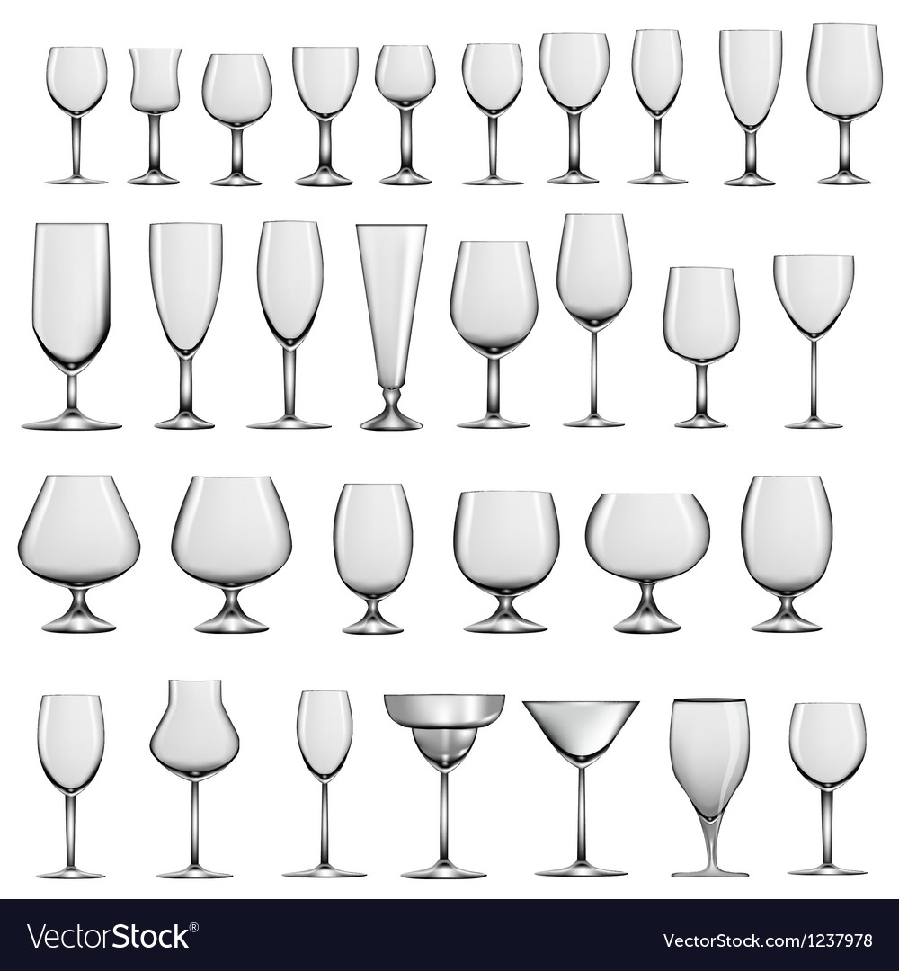 Set of empty glass goblets and wine glasses