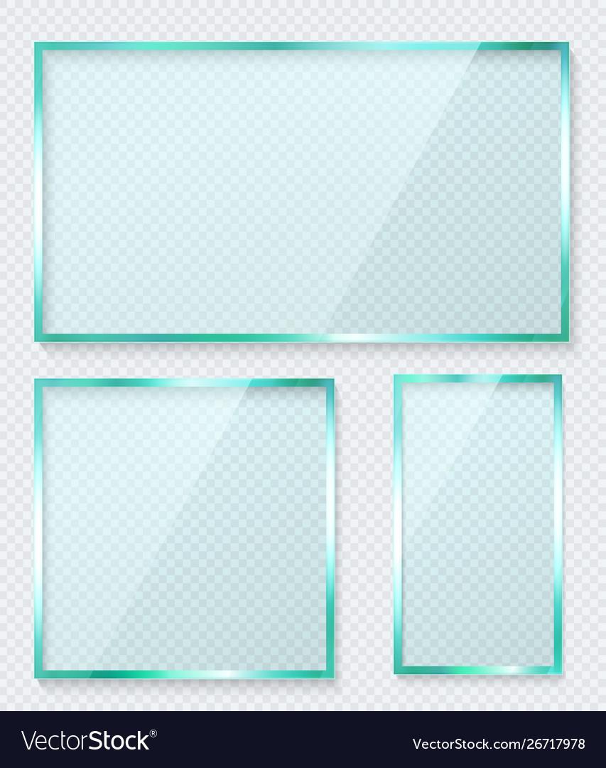 Transparent glass banner set reflective