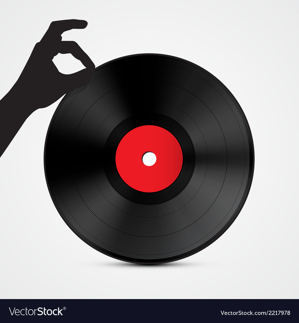 vinyl record disc with hand isolated on light vector image