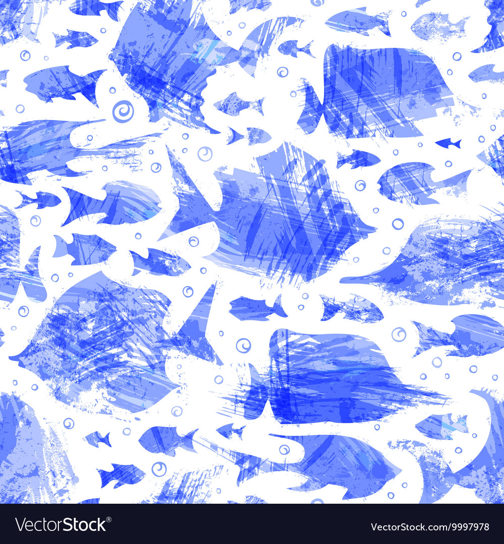 Violet watercolor seamless fish pattern