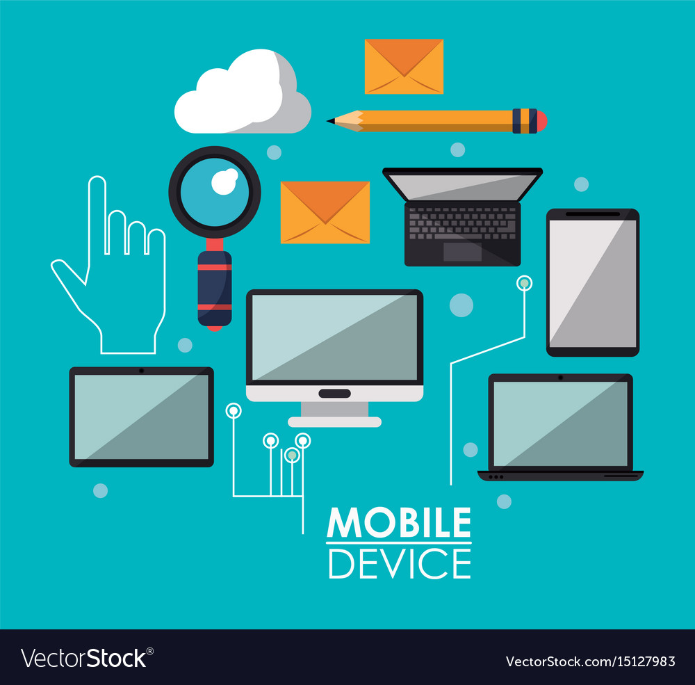 Blue poster with common mobile devices and icons