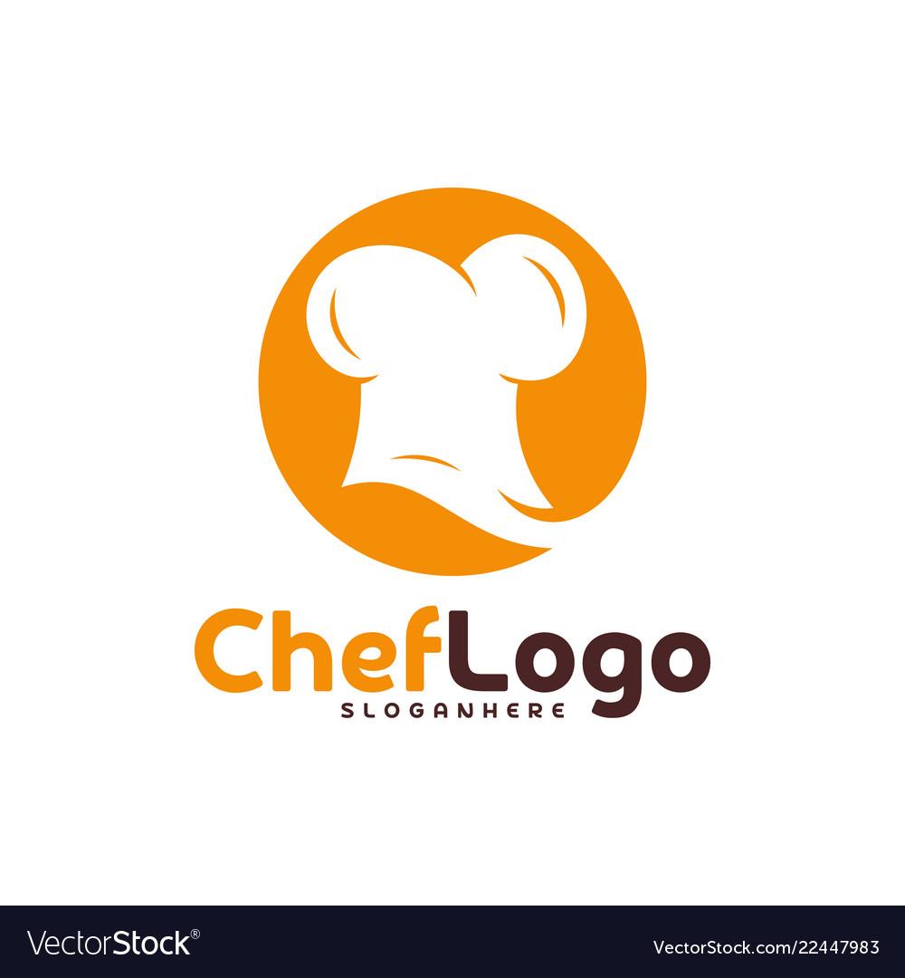 Chef Hat Logo Template Emblem Design Food Vector Image