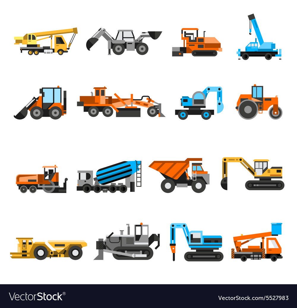 Construction Machines Icons Set vector image