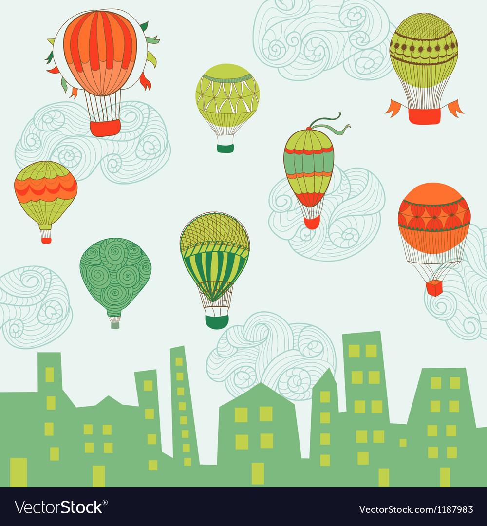 Cute Air Balloons Background