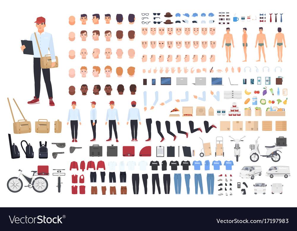 Delivery man creation set or building kit bundle