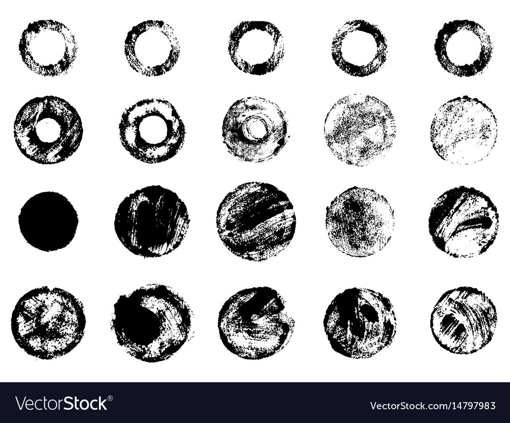 Grunge stamps collection circles black banners vector image