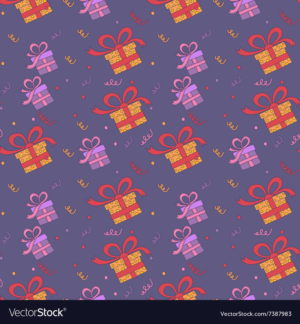 Happy Birthday Seamless Pattern with Presents