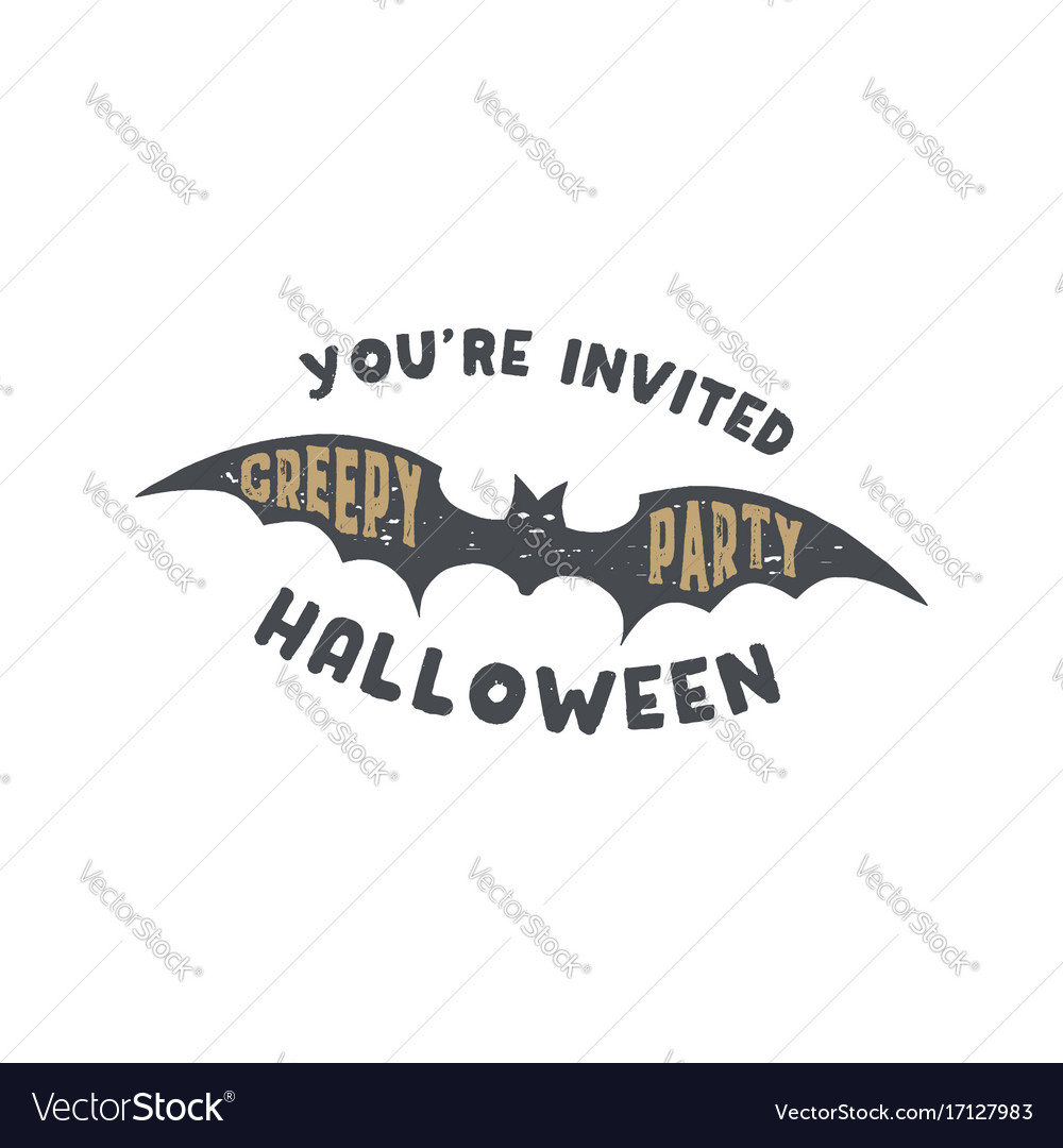 happy halloween badge vintage hand drawn logo vector image