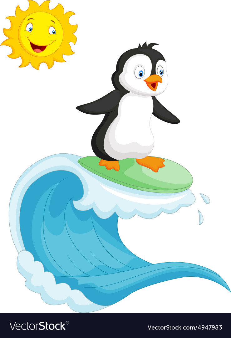 Happy penguin cartoon surfing