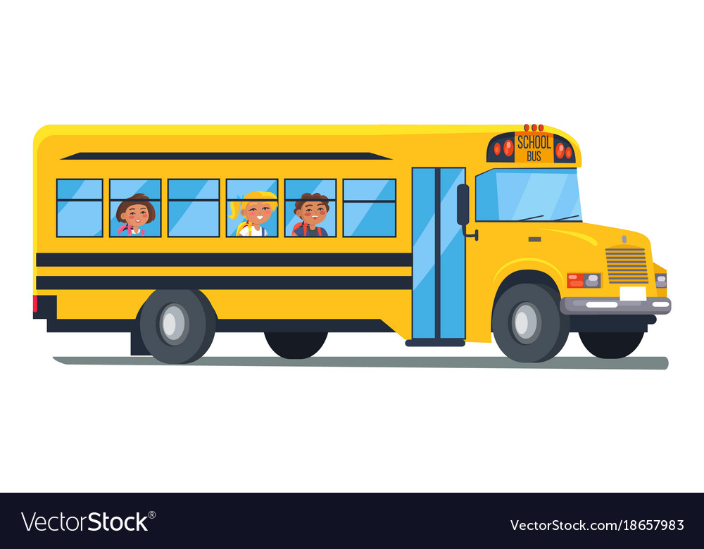 School bus with kids sitting near windows vector image