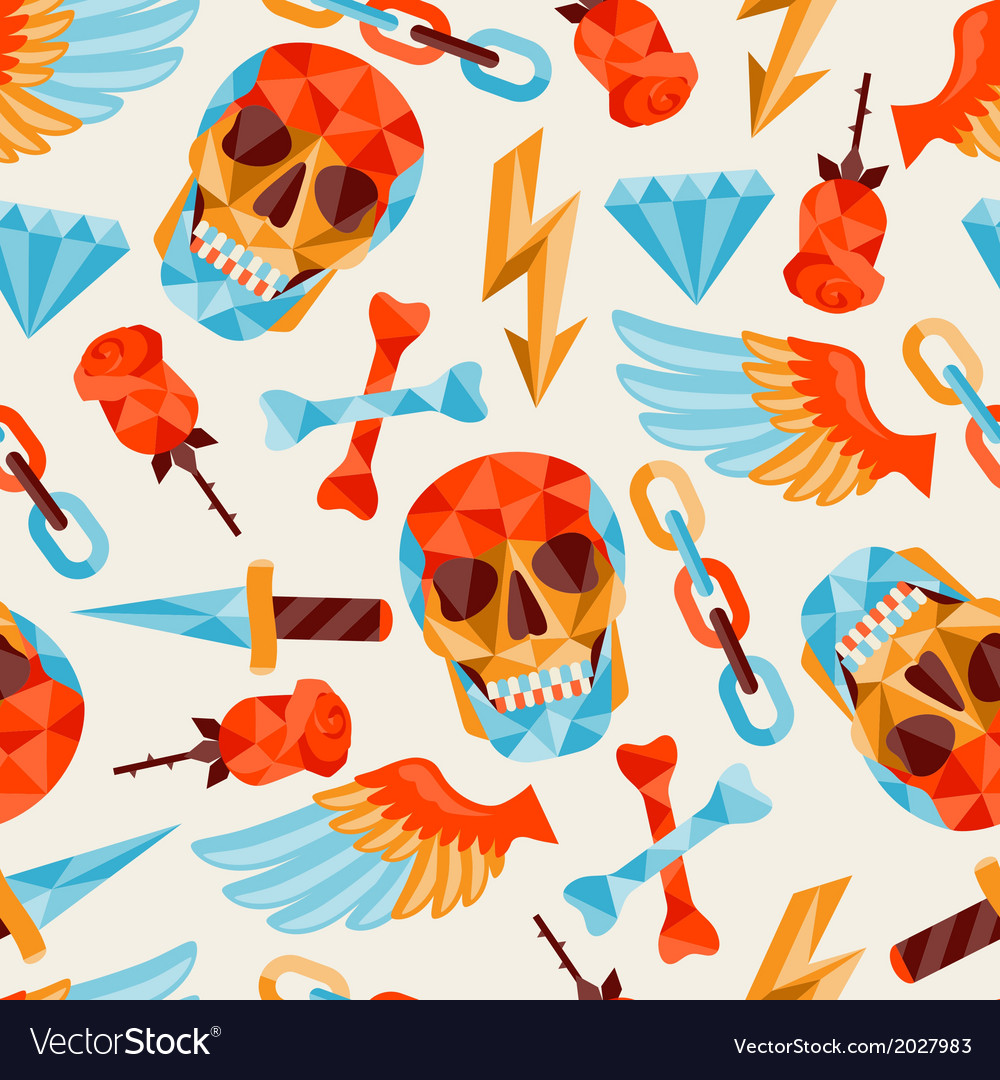 Seamless background with skull and elements