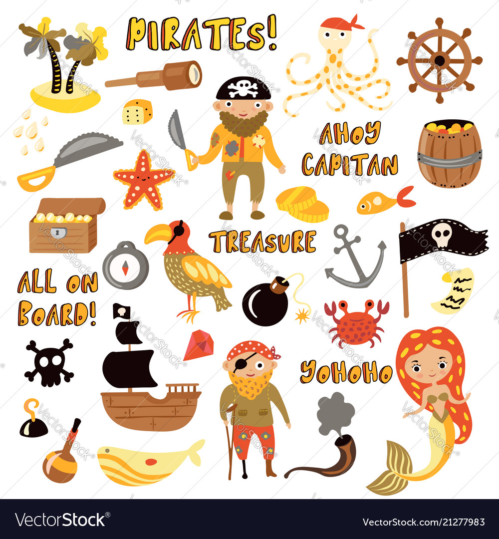 Set of pirates cartoon objects adventures