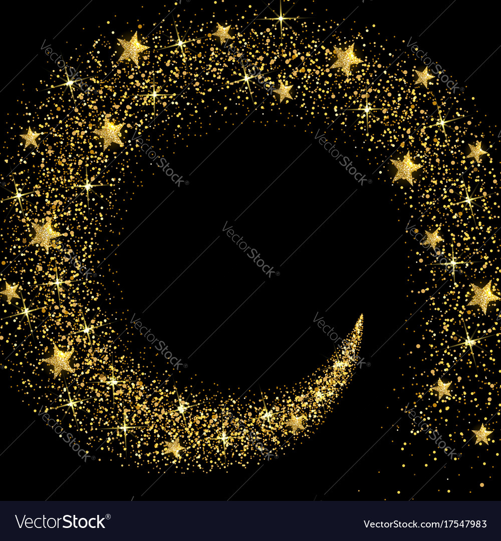 Stream of golden stars and particles vector image