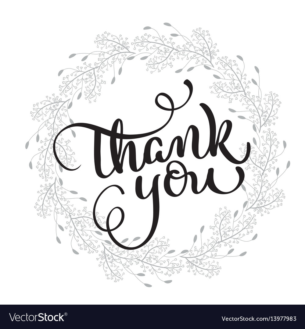 Thank you text with round frame on background