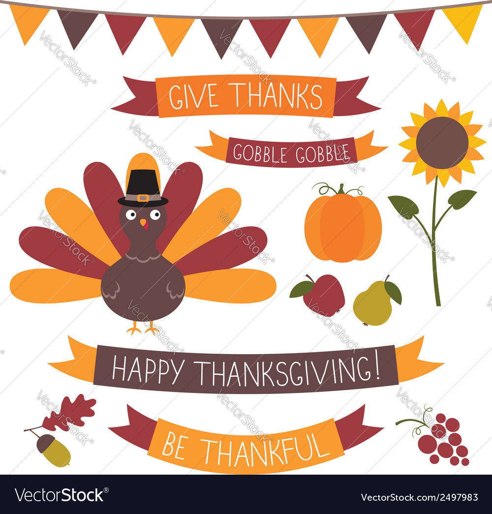 Thanksgiving set vector image
