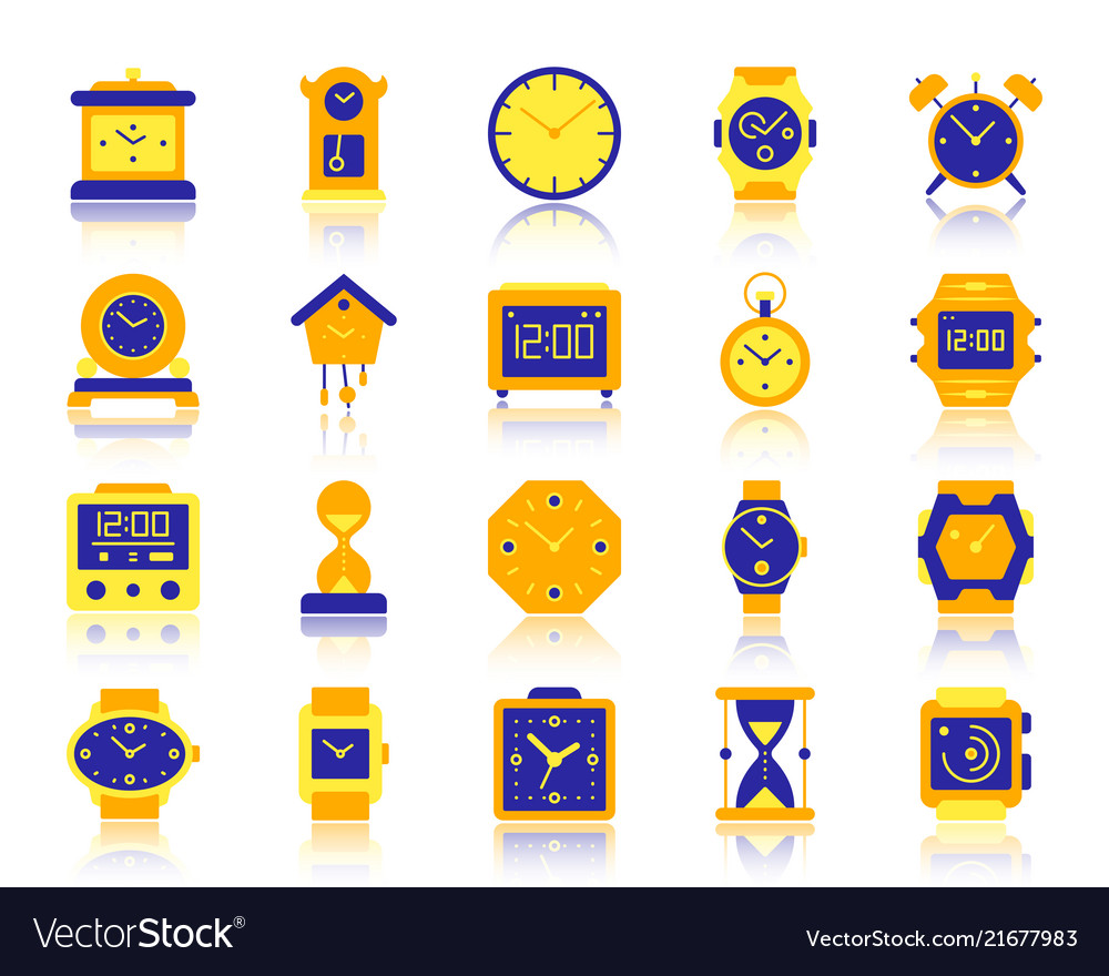 Watch simple flat color icons set
