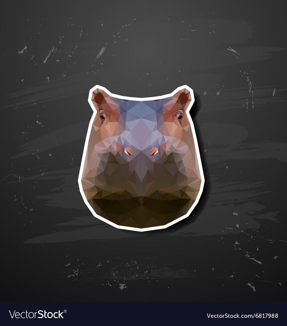 Abstract triangle polygonal hippopotamus