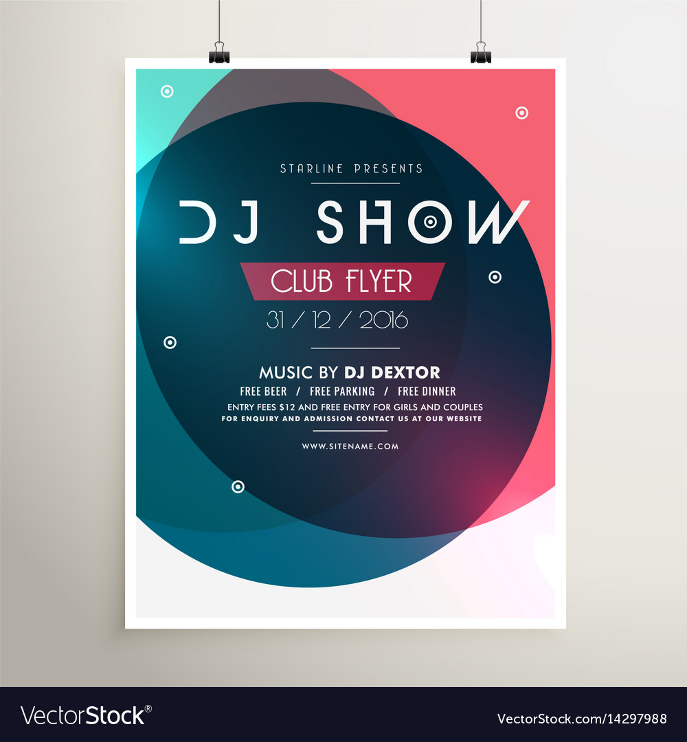 Awesome Music Party Event Flyer Template With Vector Image On Vectorstock
