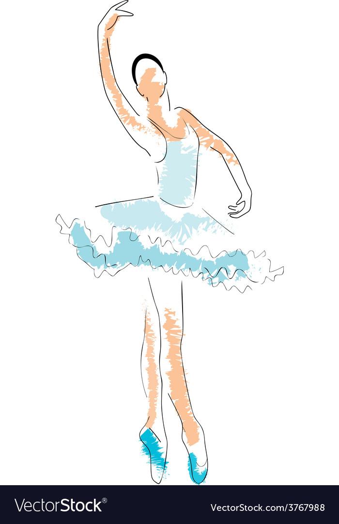 ballerina drawing royalty free vector image vectorstock