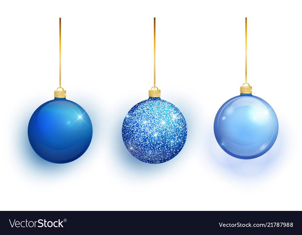 Blue christmas tree toy set isolated on white