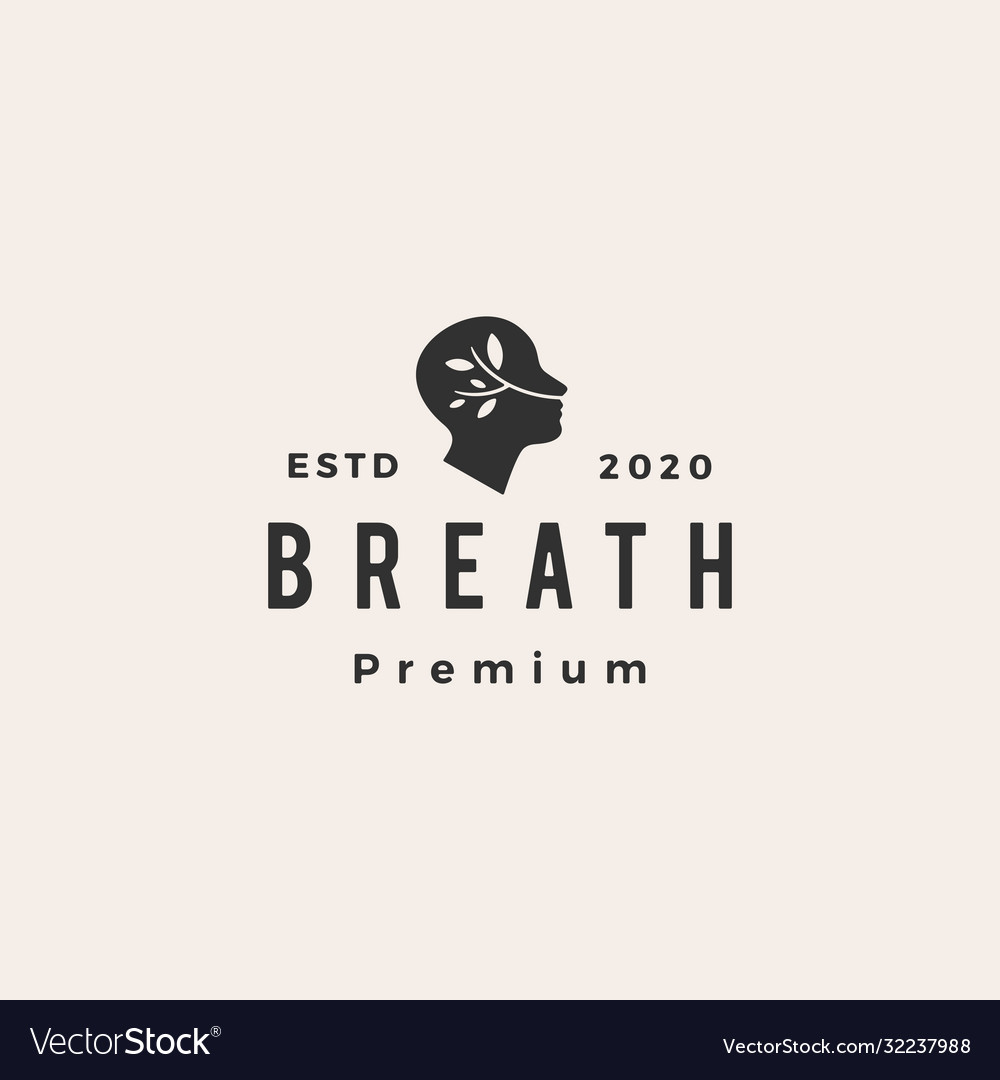 Breath leaf head hipster vintage logo icon vector