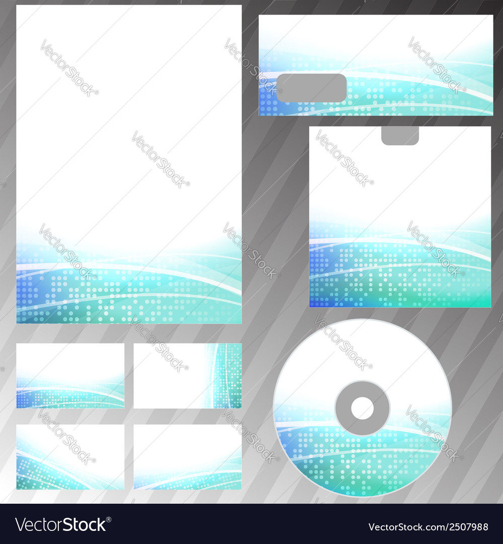 Bright dotted corporate stationery set template vector image